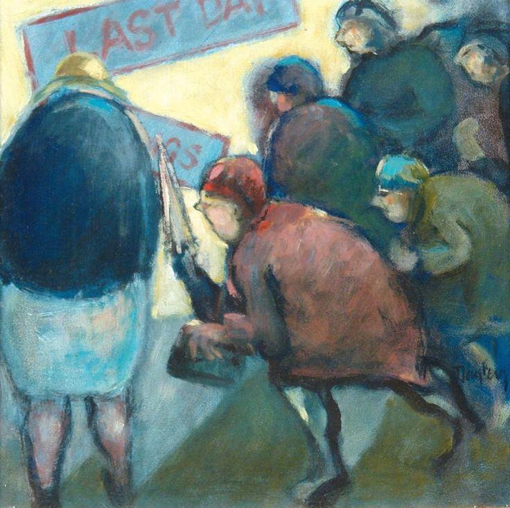 Arthur Dagley - Sale Day (oil on board)