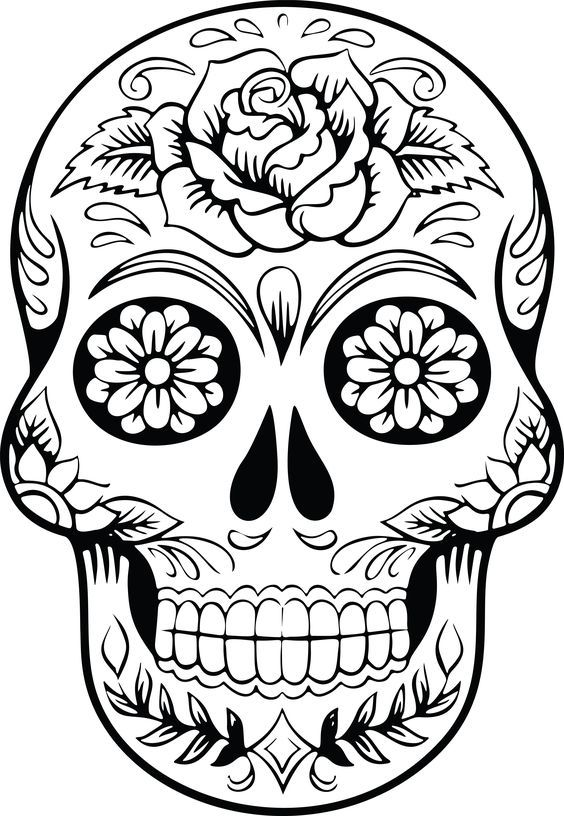 Free Clipart Of A Sugar Skull Skull Coloring Pages