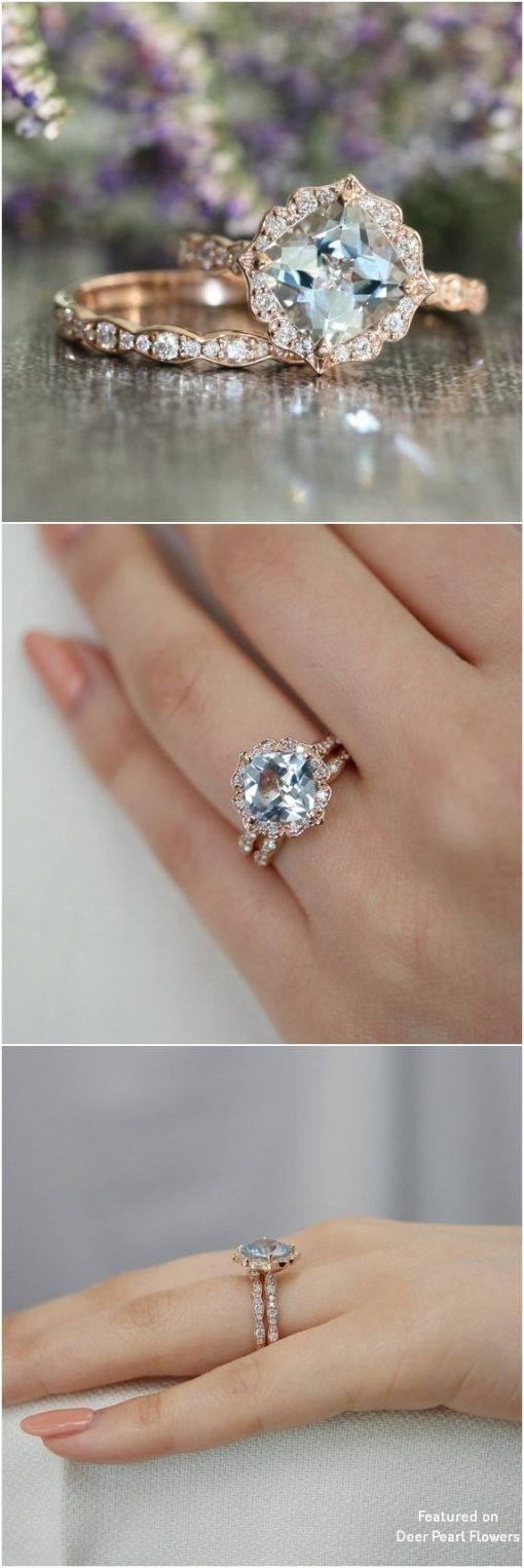 Aquamarine pear moissanite and 14k gold twig engagement ring | Deer Pearl Shop