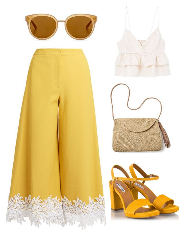 """Yellow Extravaganza"" by penkreitto on Polyvore featuring Sara Battaglia, Draper James, Mar y Sol, Fratelli Karida and MANGO"
