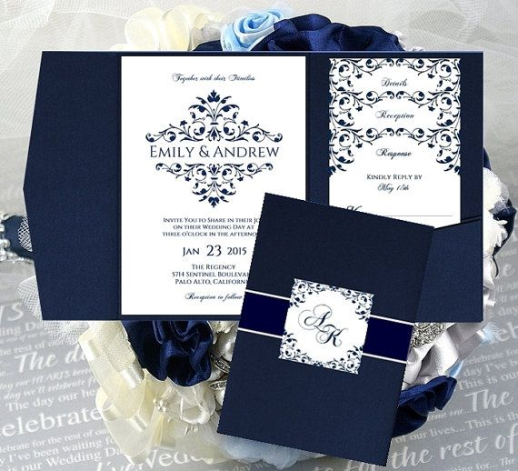 Beautiful Vintage Design VICTORIAN FRAME Wedding Pocket Invitation Templates Printable Navy Blue INSTANT Download - Order ANY COLOR - Free