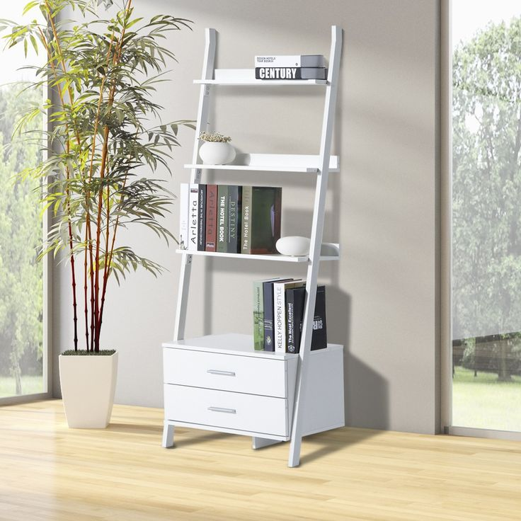 kitap depolama raf kitaplık iki çekmeceli, modern 64L x 40L x 175H ile 4 raf (cm) beyaz yeni 05WT: Amazon.fr: Mutfak