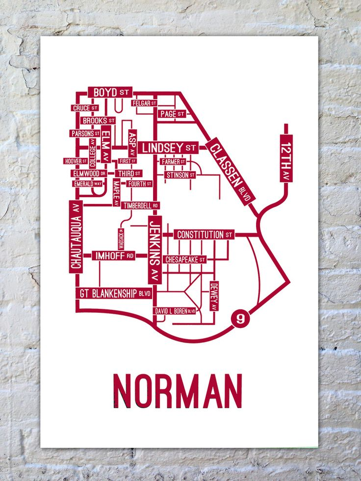 The University of Oklahoma Sooners - Big 12 School Street Posters | Norman, Oklahoma Street Map Poster $22 | SchoolStreetPosters.com
