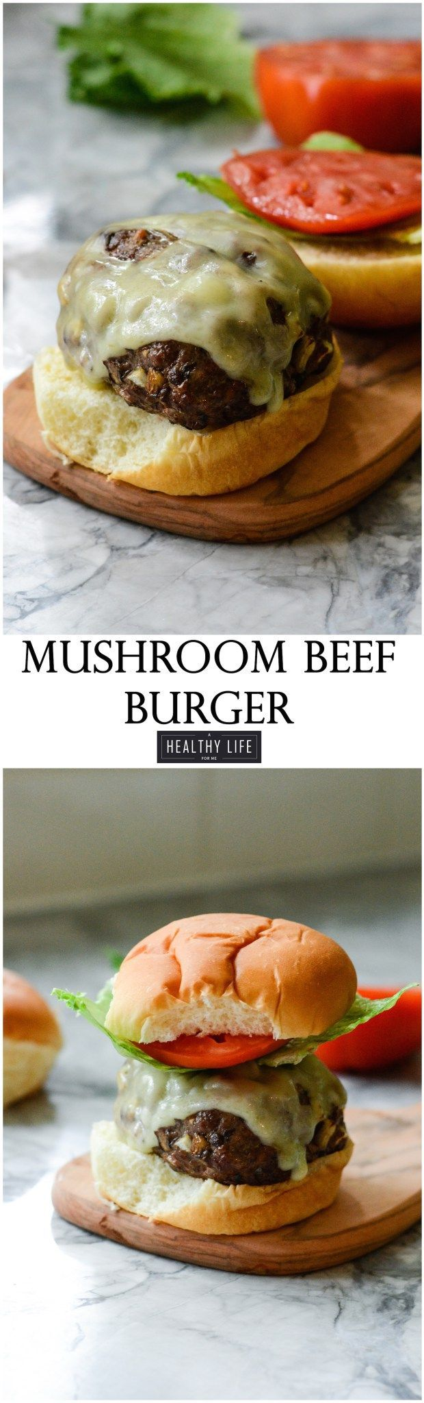 These Mushroom Beef Burgers are moist and flavorful cooked up on the grill and ready in under 30 minutes.  Using grass fed beef, a combination of gourmet mushrooms gives these burgers a robust flavor that makes them leagues better than a plain on beef burger. - A Healthy Life For Me