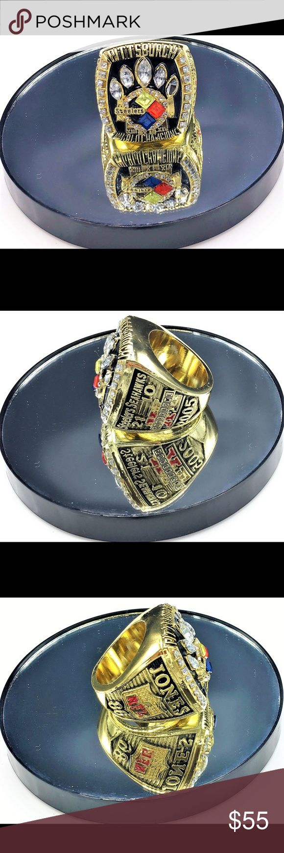 """Super Bowl 40 (XL) Replica Ring - Pitt Steelers Super Bowl 40 (XL) Replica Ring  Pittsburgh Steelers 21 Seattle Seahawks 10 Feb. 5, 2006  """"Big Ben captures his first""""  Size 11 but meant for Collectible Souvenir. Perfect Gift for any true Pittsburgh Steelers Fan. Accessories Jewelry"""