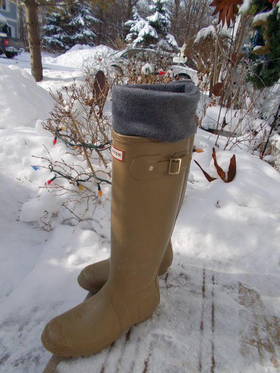 Fleece Rain Boot Liners Solid Gray Regenachtige dagen direct Hunter Deur Bluebird58