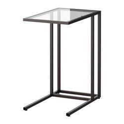IKEA - VITTSJÖ, Soporte portátil, negro-marrón/vidrio, , De vidrio templado y metal, dos materiales muy resistentes que dan sensación de ligereza y amplitud.