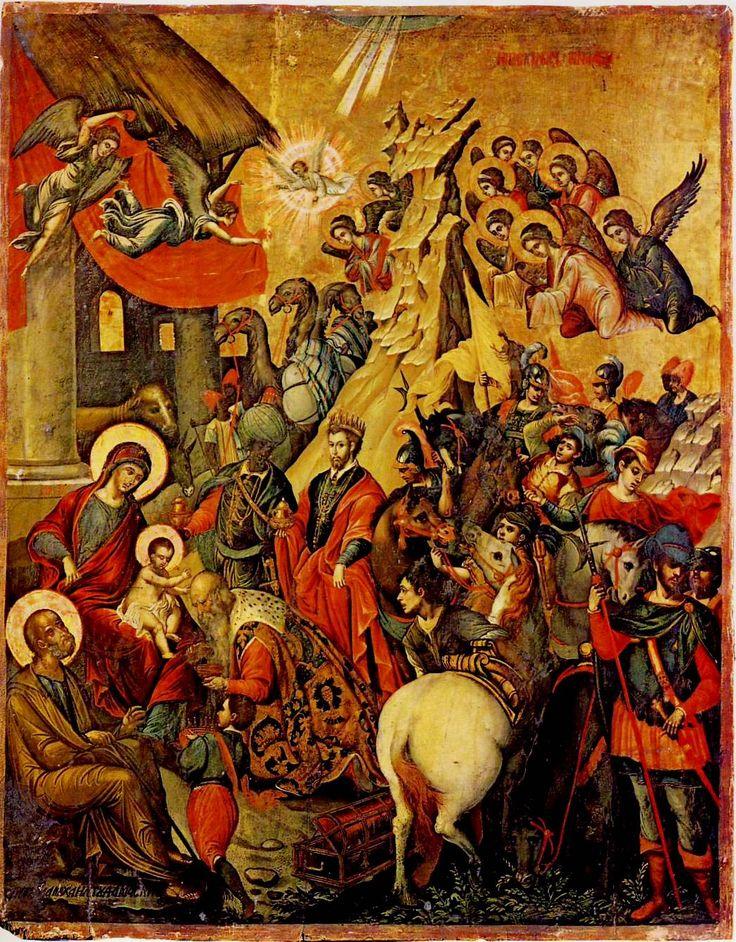 Τhe adoration of the Magi. Michael Damaskenos (1530/5 - 1592/3). St Catherine of SInai Museum, Herakleion, Greece.