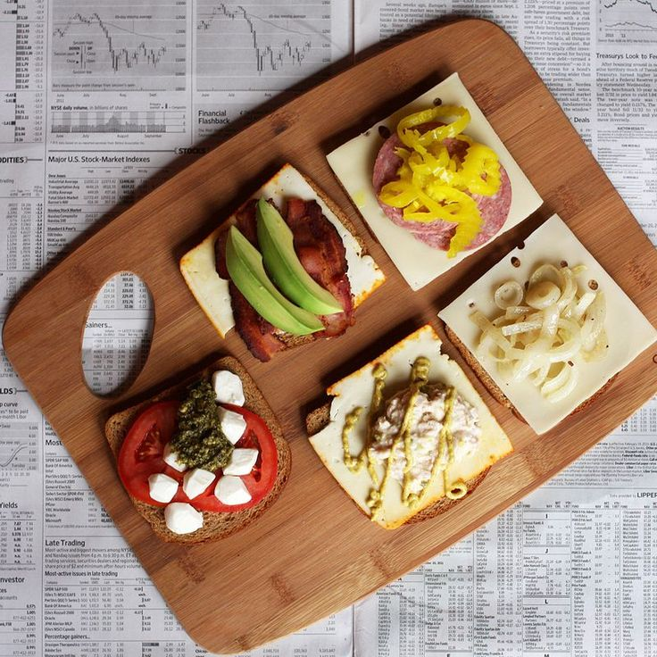 More ingredients for fancy grilled cheese sandwiches: bacon, avocado and munster cheese; summer sausage with banana peppers and swiss; fresh tomatoes with pesto and mozzarella; tuna salad with spicy mustard and munster cheese; and caramelized onions with swiss cheese.