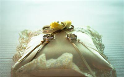 Scarica sfondi Anelli di nozze, cuscino, rosa gialla, matrimonio