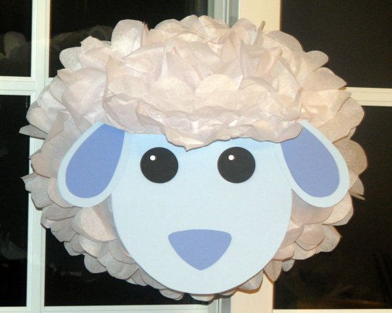 Sheep tissue paper pompom kit Old MacDonald farm party