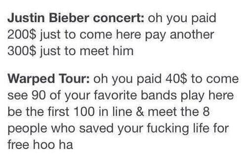 I would love to go to warped tour this year!! And as for JB. That's pathetic.
