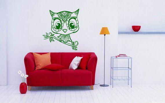 Gufo uccello animale parete vinile Decal Sticker casalinghi Home arte moderna Design elegante murale camera interni Decor rimovibile camera finestra SV4249