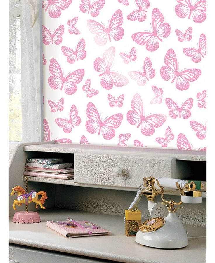 Use this fabulous Butterfly Wallpaper to create a butterfly theme in any room. Made from high quality paper, the design features lots of pretty pink butterflies on a white background that is infused with a subtle shimmer.