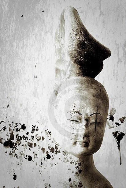 Calligraphie.jpg (Arts numériques),  40x60 cm par Carine Dionisi Assemblage et manipulation d'images. Edition limitée à un tirage.