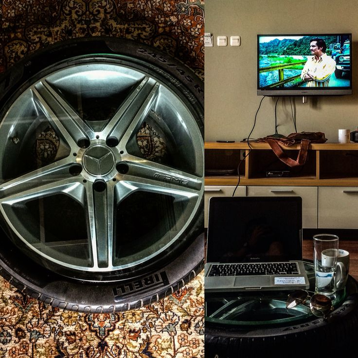 DIY Coffee table, Mercedes benz's AMG rims set created by Ardy Putra Soetopo. ☕️