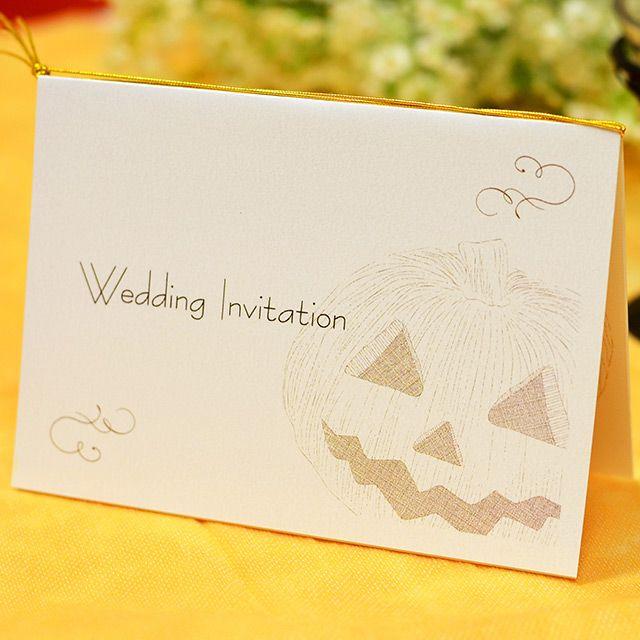 手作り【招待状キット】ハロウィン・シンプル(1名様分) かぼちゃのスケッチをあしらったデザインの結婚式手作り招待状キット。 シンプルで可愛いテンプレートです♪ ハロウィンウェディングにぴったり!