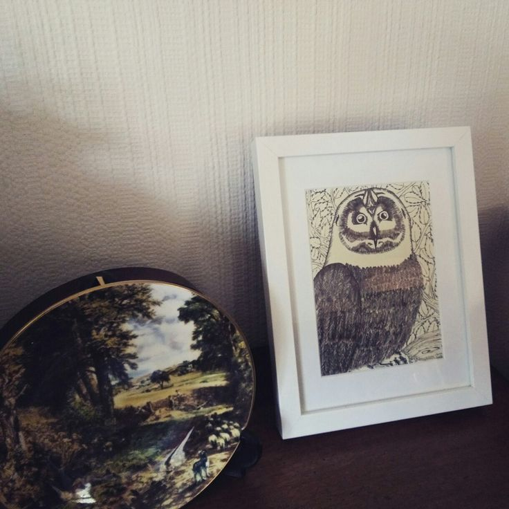 Gnight Owl print, framed and sitting happily in its new home!!Limited Edition art prints available on my Etsy shop.  CorinaFitzgibbonArt©all rights reserved.