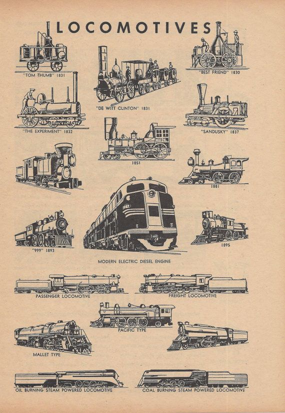 Locomotives, Trains, Railroads, Vintage Illustration, 1940s, Double Sided Print £6.26
