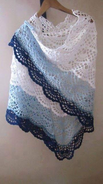 Patrón #750: Chal a Crochet | CTejidas [Crochet y Dos Agujas]