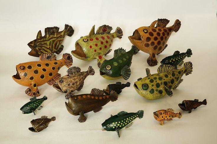 Frog Fish and Puffer Fish Ceramics, handbuilt, sculpture