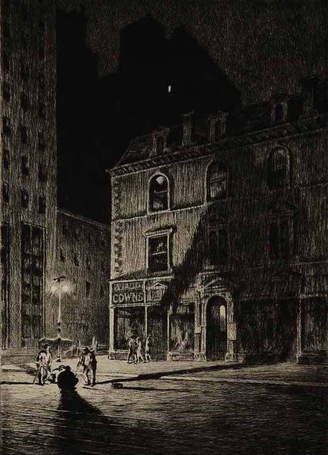 """The Great Shadow. 1925. By Martin Lewis """"The locale depicted is East Thirty-fourth Street where Lewis had a studio at that time.."""""""