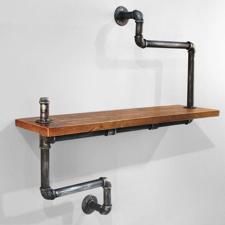 Rustic Industrial DIY Pipe Shelf Storage Shelves Bookshelf Wall Mount Wooden