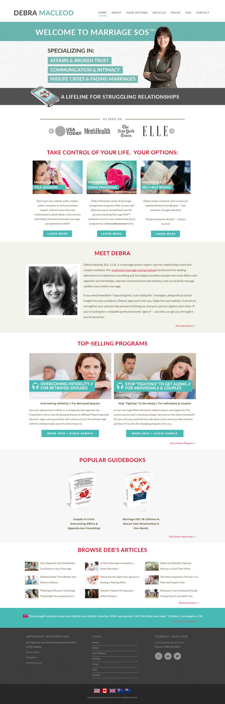 Deborah Macleod - world leading relationship coach. Her website and e-course integration was a dream to build.