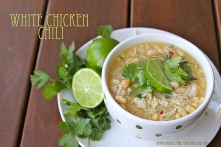 White Chicken Chili is SO easy and absolutely the best soup you'll ever taste!!  by www.whatscookingwithruthie.com #crockpot #chicken #recipes