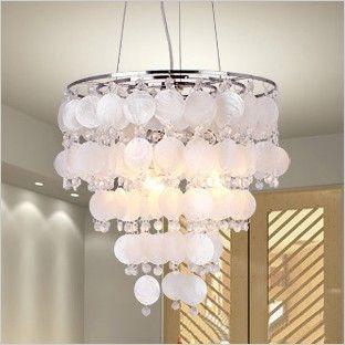 Оболочки кристалл подвесные светильники, Белый / фиолетовый романтическая природного оболочки современные подвесные светильники, Мода освещение для гостиной спальня