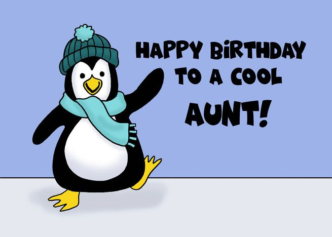 Birthday Card With Penguin Birthday For A Cool Aunt Card Ad Ad Penguin Card Birthday Dad Cards Happy Birthday Uncle Birthday Cards