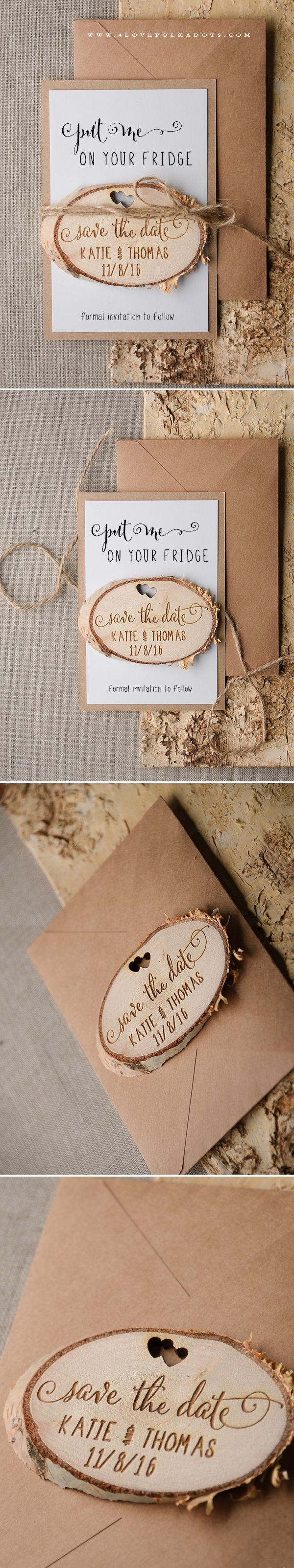 Wedding Save the Date Card with Lovely Wooden Magnet ! #realwood #rustic #countrywedding