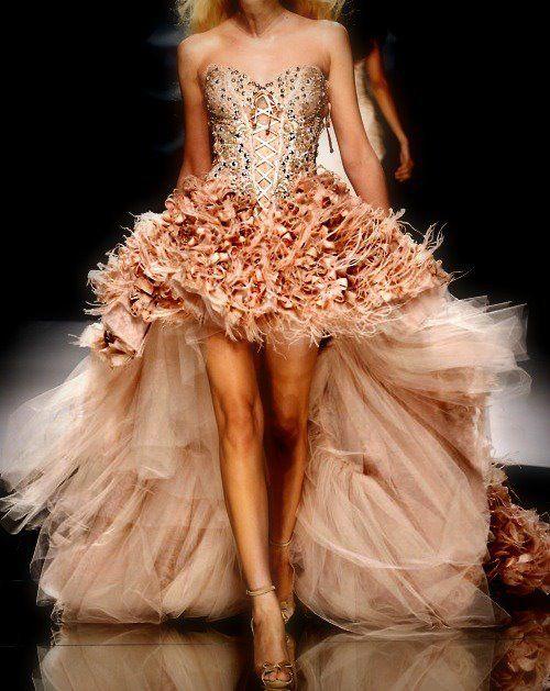 Peach Fluff and Glitter Ball Dress :)