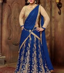 Buy Blue embroidered net unstitched lehenga-choli eid-lehenga online