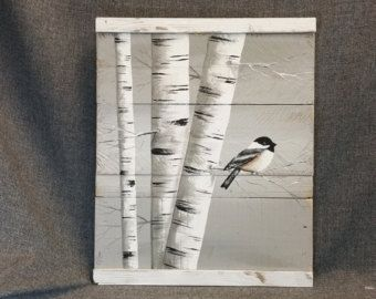 Fall Reclaimed Wood Pallet Art TALL by TheWhiteBirchStudio on Etsy