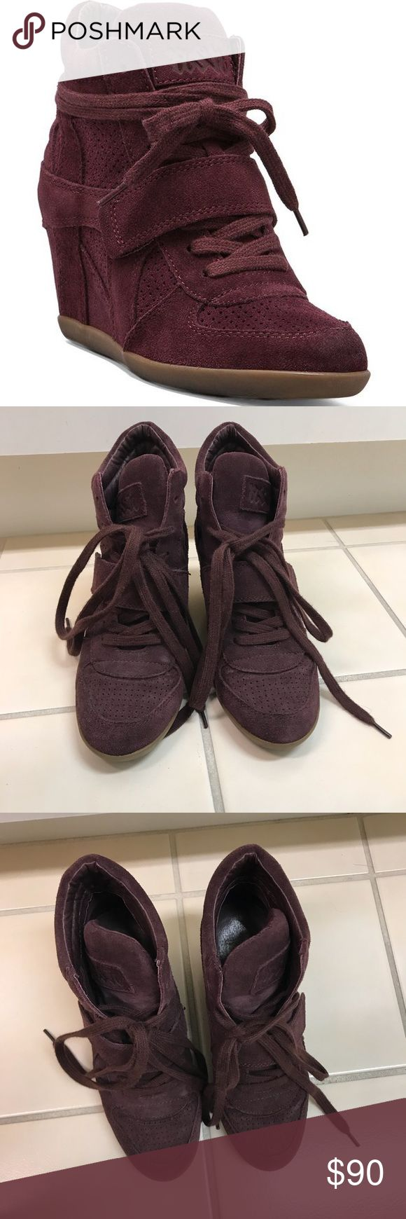 Ash Bowie Wedge Sneaker Purple / maroon color. Size 37 but fits more like a 6 / 6.5. Small scuff on the shoes (see pictures for small grey spot on top of shoe). Worn a handful of times, as you can see the bottom sole is still in like new condition! Ash Shoes Sneakers