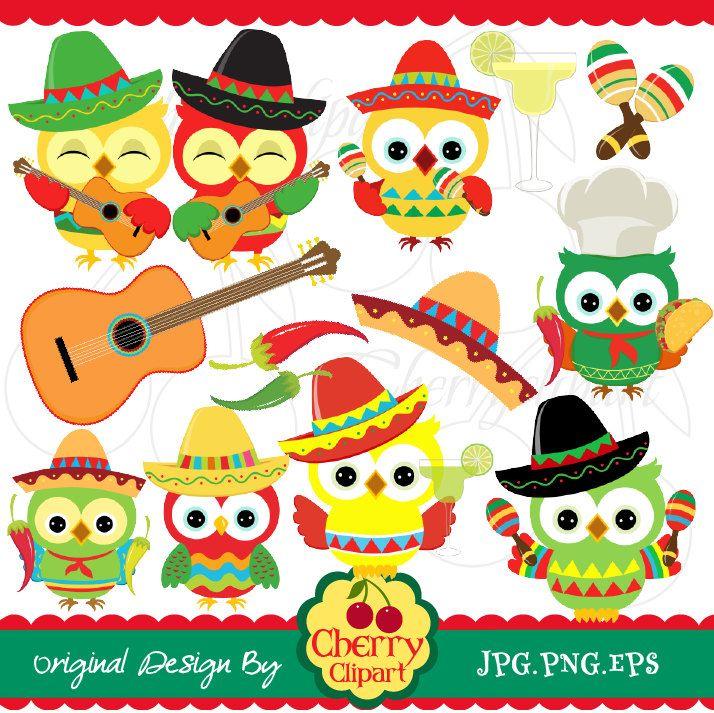 Cinco de Mayo party owls digital clip art set