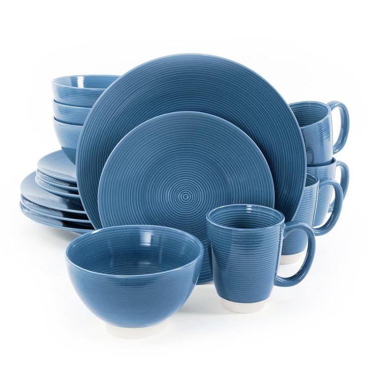 Rowland 16-Piece Blue Dinnerware Set
