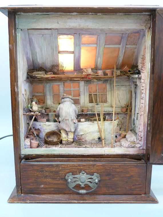 Miniature Children S Bedroom Room Box Diorama: Illuminated Diorama Box, Handmade Diorama, Nightlight