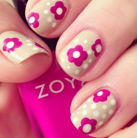 flower nails, Zoya, pink and nude