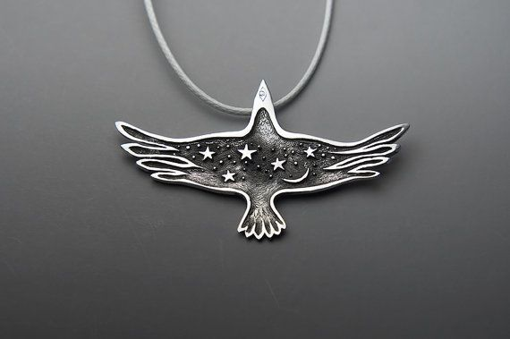 Night Raven Pendant Black Raven Jewelry Flying Bird by SilveryLake