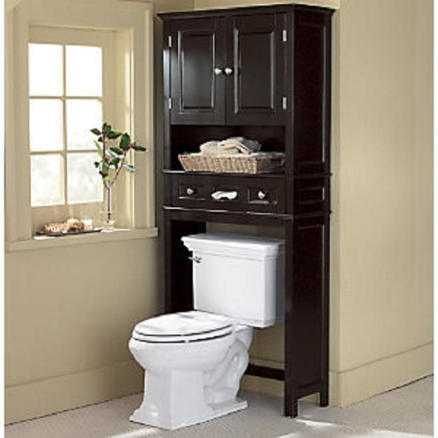 Modern Over The Toilet Dark Wood Space Saver Bathroom Storage Cabinet Shelf New Unbranded