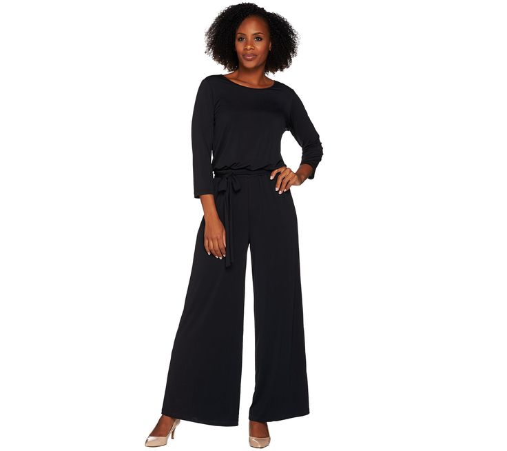 Joan Rivers Petite Length Jersey Knit Jumpsuit with 3/4 Sleeves