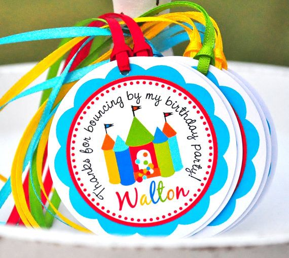 Bounce House Hang Tags, Personalized Favor Tags, Kids -  Set of 12 via Etsy