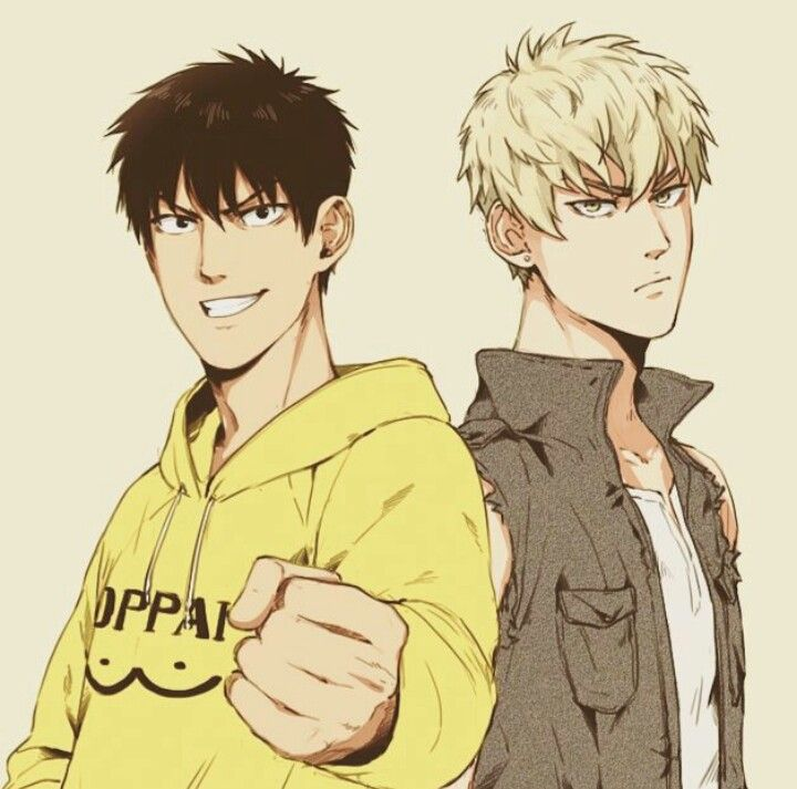 Past Saitama and Genos   so basically, Saitama has hair and Genos is human…