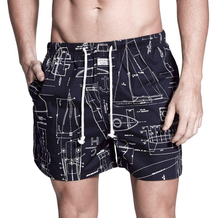 Penkivil Boxer Shorts in Blueprint Pattern   Campbell & Hall #campbellandhall #blueprint #pattern #style #mensclothing #menswear #shorts