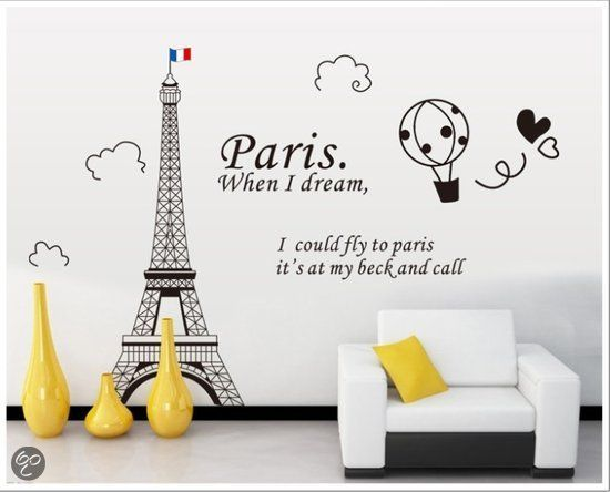 Pinehouse XL muursticker Parijs - Eifeltoren Flag