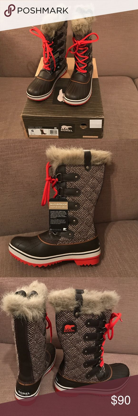 Sorel Boots- NWT. Winter boots Never worn.  Weatherproof winter boots. Herringbone detail and red laces. Faux fur trim. Traction soles. Sorel Shoes Winter & Rain Boots