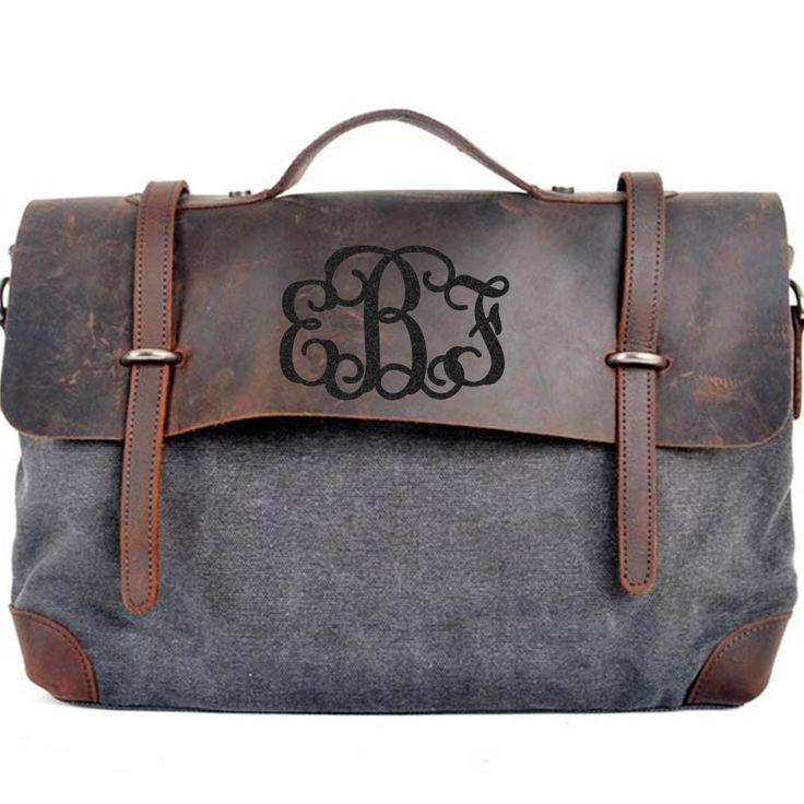 Monogram Bag, Custom Messenger Bag, Engraved Shoulder Bag - Genuine Leather , High density Canvas