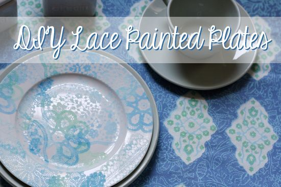 DIY Decorative Lace Painted Dishes via Her New Leaf